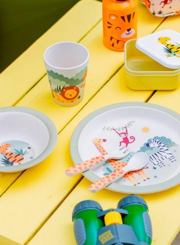 Set de platos, vaso y cubiertos Safari