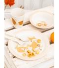 Set de platos, vaso y cubiertos Woodland