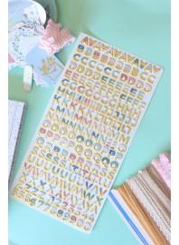 Pegatinas Alfabeto chipboard Pétalos